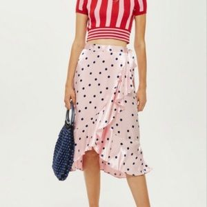 Topshop Polka Dot Wrap Satin Skirt Assymetrical